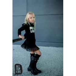 Čierne džersejové šaty s potlačou