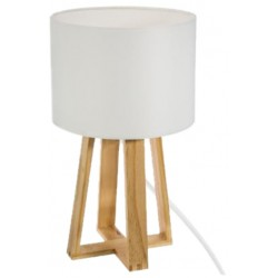 Biela moderná lampa s drevenným podstavcom